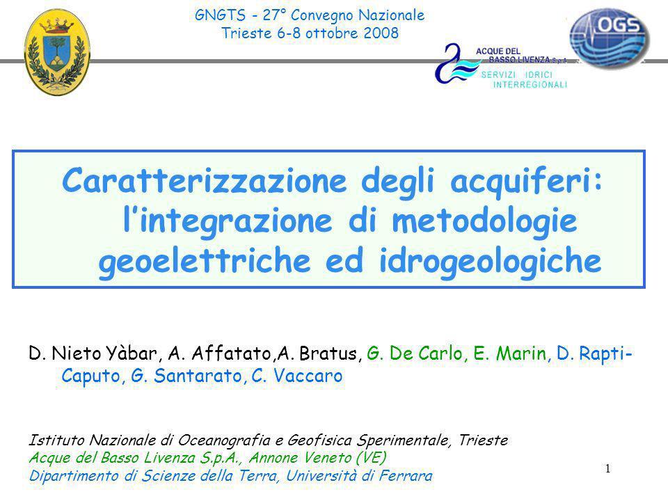 1 Caratterizzazione degli acquiferi: lintegrazione di metodologie geoelettriche ed idrogeologiche D. Nieto Yàbar, A. Affatato,A. Bratus, G. De Carlo,