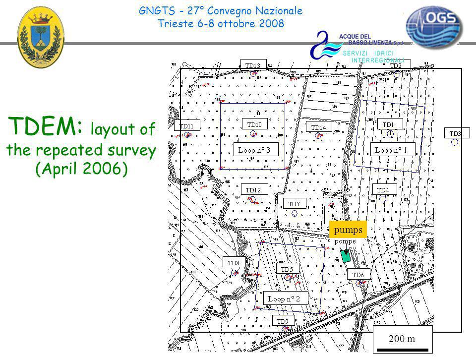 14 TDEM: layout of the repeated survey (April 2006) pumps GNGTS - 27° Convegno Nazionale Trieste 6-8 ottobre 2008 200 m