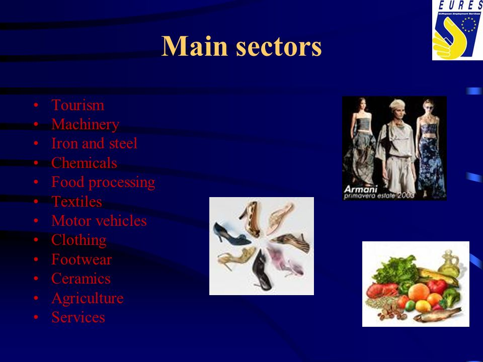 Main sectors Tourism Machinery Iron and steel Chemicals Food processing Textiles Motor vehicles Clothing Footwear Ceramics Agriculture Services