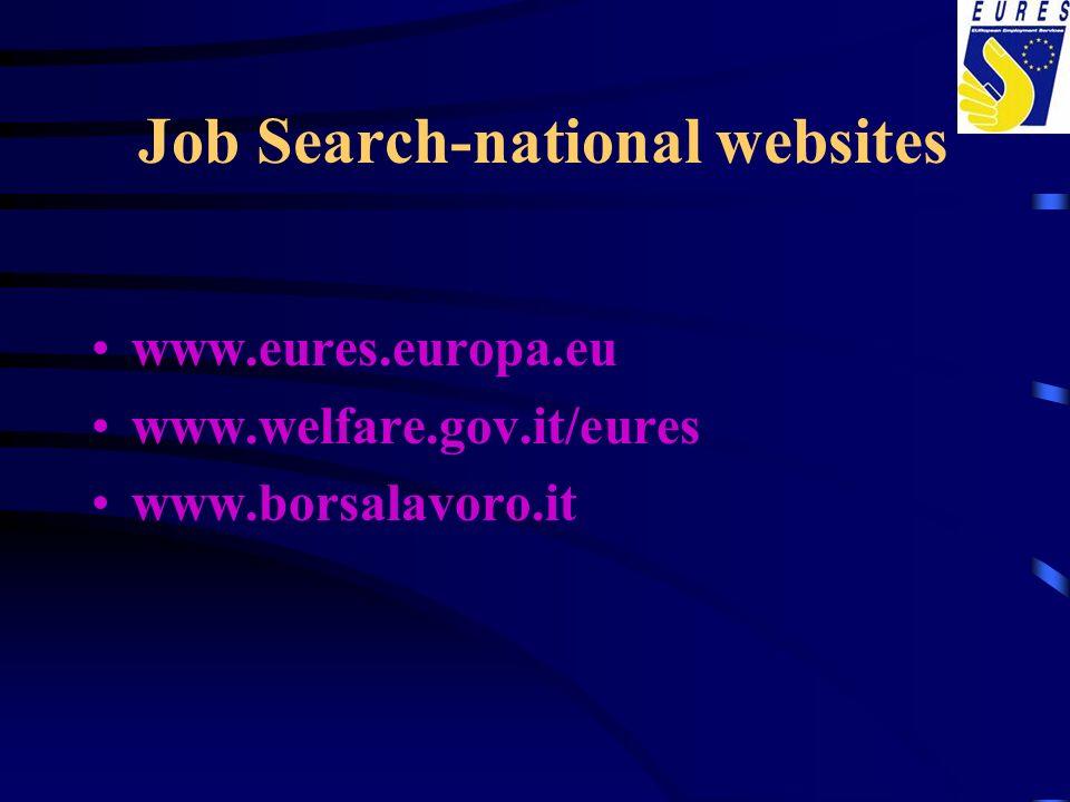 Job Search-national websites www.eures.europa.eu www.welfare.gov.it/eures www.borsalavoro.it