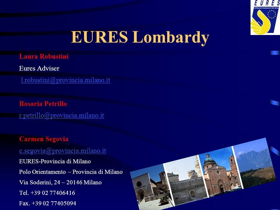 EURES Lombardy Laura Robustini Eures Adviser l.robustini@provincia.milano.it Rosaria Petrillo r.petrillo@provincia.milano.it Carmen Segovia c.segovia@