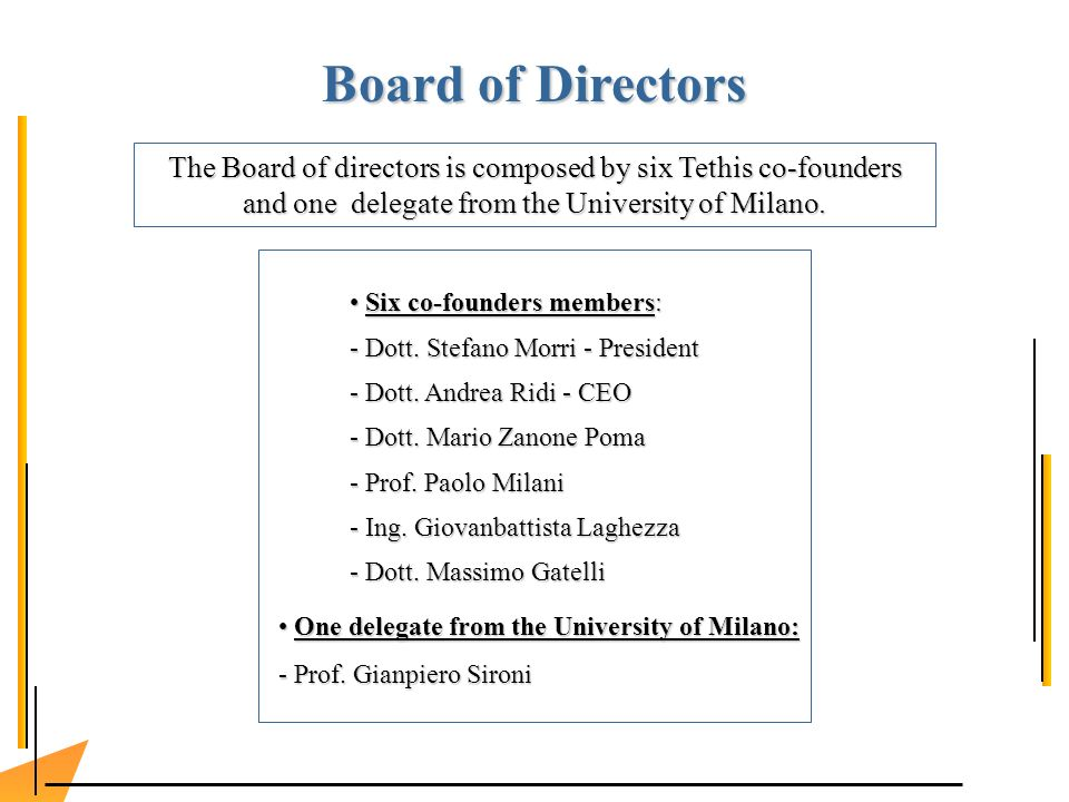 Board of Directors The Board of directors is composed by six Tethis co-founders and one delegate from the University of Milano.