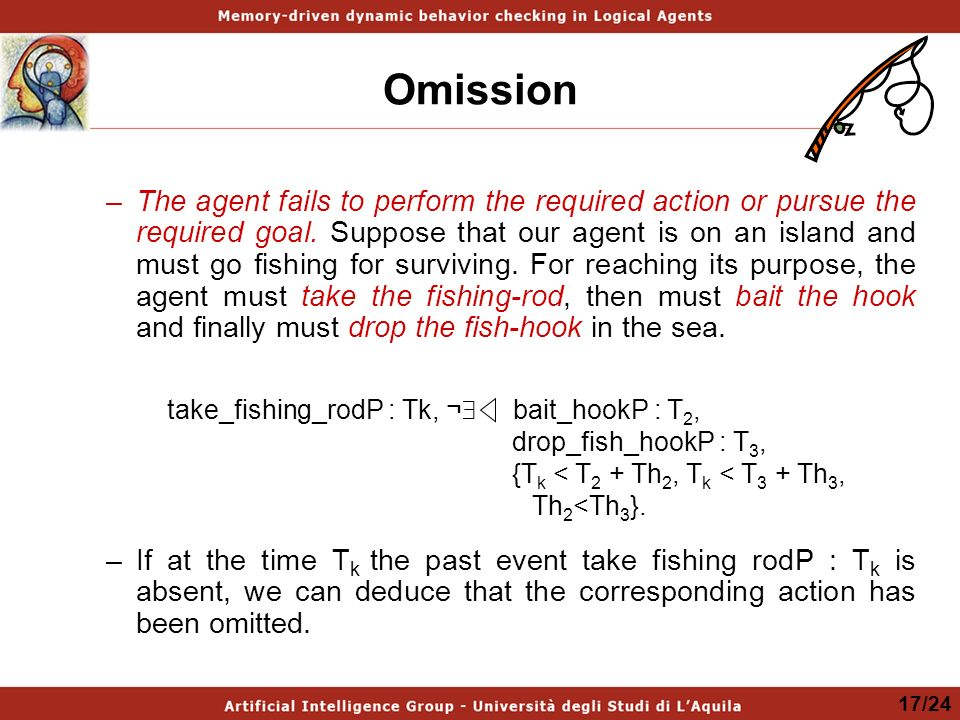 Omission –The agent fails to perform the required action or pursue the required goal.