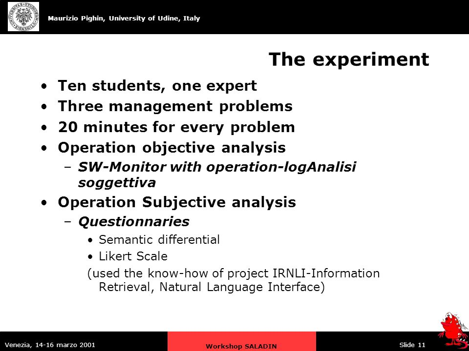 Maurizio Pighin, University of Udine, Italy Venezia, 14-16 marzo 2001 Workshop SALADIN Slide 11 The experiment Ten students, one expert Three management problems 20 minutes for every problem Operation objective analysis –SW-Monitor with operation-logAnalisi soggettiva Operation Subjective analysis –Questionnaries Semantic differential Likert Scale (used the know-how of project IRNLI-Information Retrieval, Natural Language Interface)