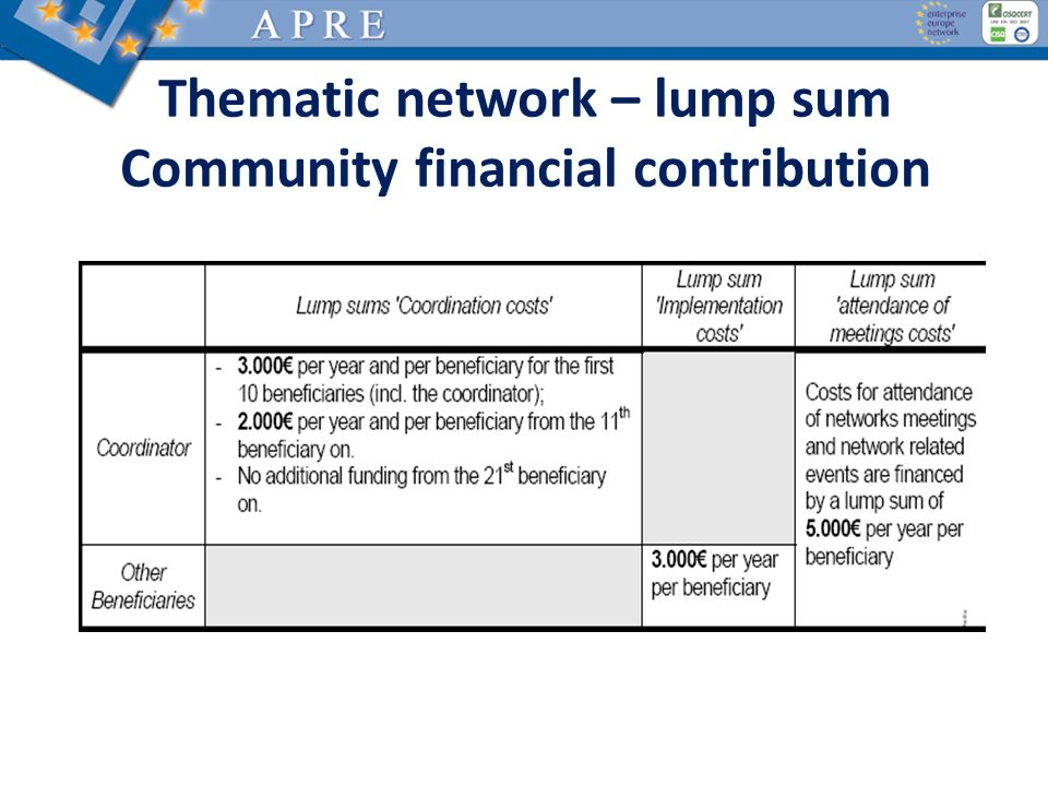 Thematic network – lump sum Community financial contribution