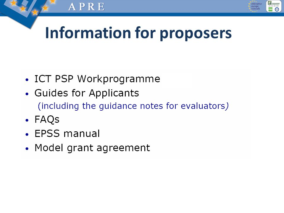 Information for proposers