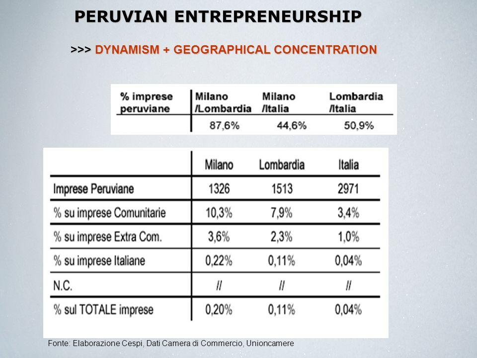 PERUVIAN ENTREPRENEURSHIP Fonte: Elaborazione Cespi, Dati Camera di Commercio, Unioncamere >>> DYNAMISM + GEOGRAPHICAL CONCENTRATION