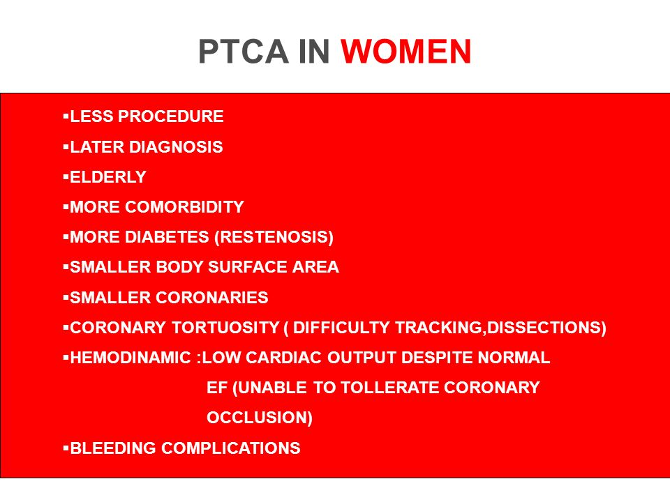 PTCA IN WOMEN LESS PROCEDURE LATER DIAGNOSIS ELDERLY MORE COMORBIDITY MORE DIABETES (RESTENOSIS) SMALLER BODY SURFACE AREA SMALLER CORONARIES CORONARY TORTUOSITY ( DIFFICULTY TRACKING,DISSECTIONS) HEMODINAMIC :LOW CARDIAC OUTPUT DESPITE NORMAL EF (UNABLE TO TOLLERATE CORONARY OCCLUSION) BLEEDING COMPLICATIONS