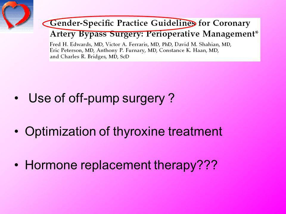 Use of off-pump surgery ? Optimization of thyroxine treatment Hormone replacement therapy???