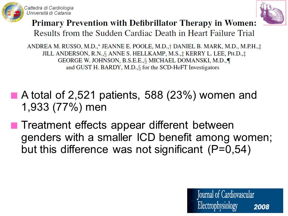 Cattedra di Cardiologia Università di Catania A total of 2,521 patients, 588 (23%) women and 1,933 (77%) men Treatment effects appear different between genders with a smaller ICD benefit among women; but this difference was not significant (P=0,54) 2008