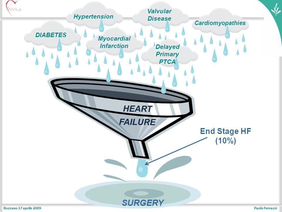 Paolo FerrazziRozzano 17 aprile 2009 DIABETES Valvular Disease HEART FAILURE SURGERY Cardiomyopathies Delayed Primary PTCA Myocardial Infarction Hypertension End Stage HF (10%)