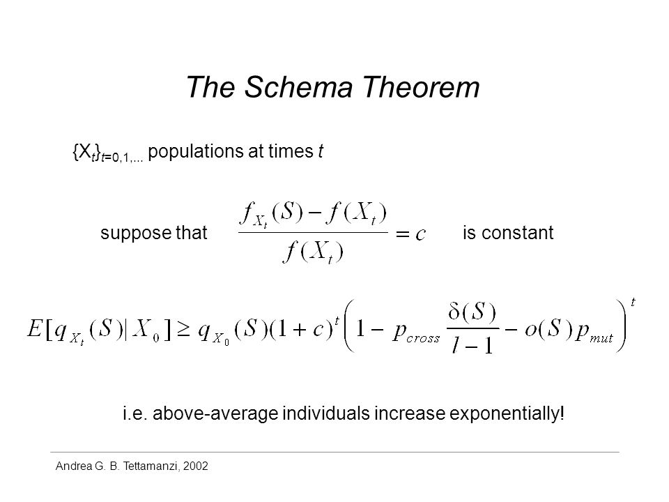 Andrea G. B. Tettamanzi, 2002 The Schema Theorem {X t } t=0,1,...