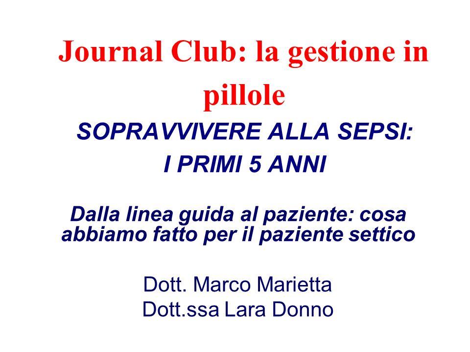 Journal Club: la gestione in pillole SOPRAVVIVERE ALLA SEPSI: I PRIMI 5 ANNI Dalla linea guida al paziente: cosa abbiamo fatto per il paziente settico Dott.