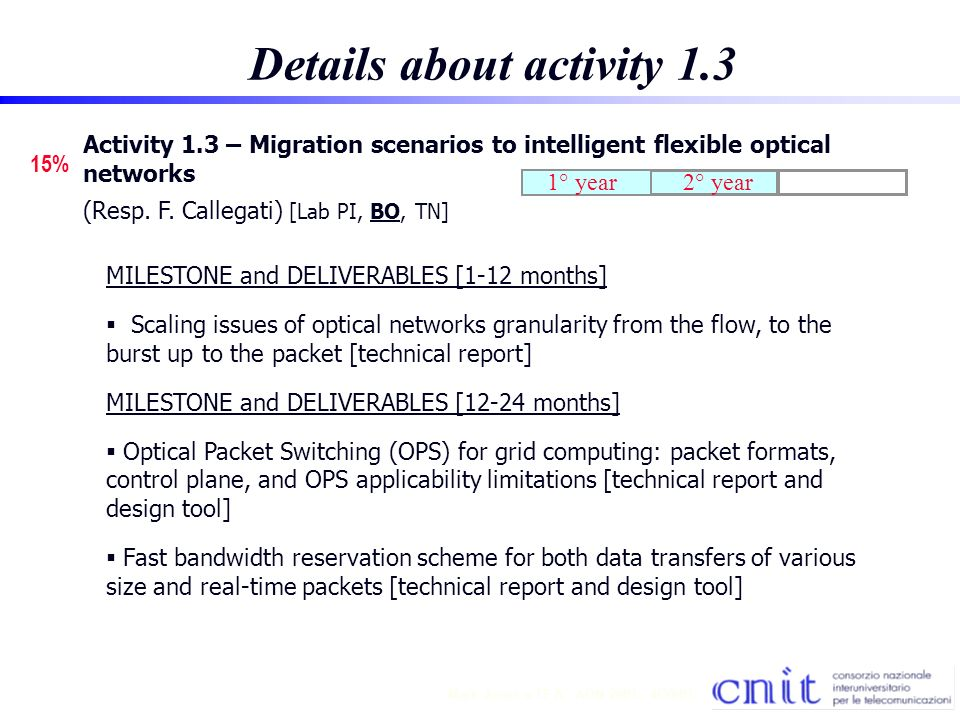 12 Mark Jones TF A - AON 2001 - 4/30/01 Details about activity 1.3 15% Activity 1.3 – Migration scenarios to intelligent flexible optical networks (Resp.