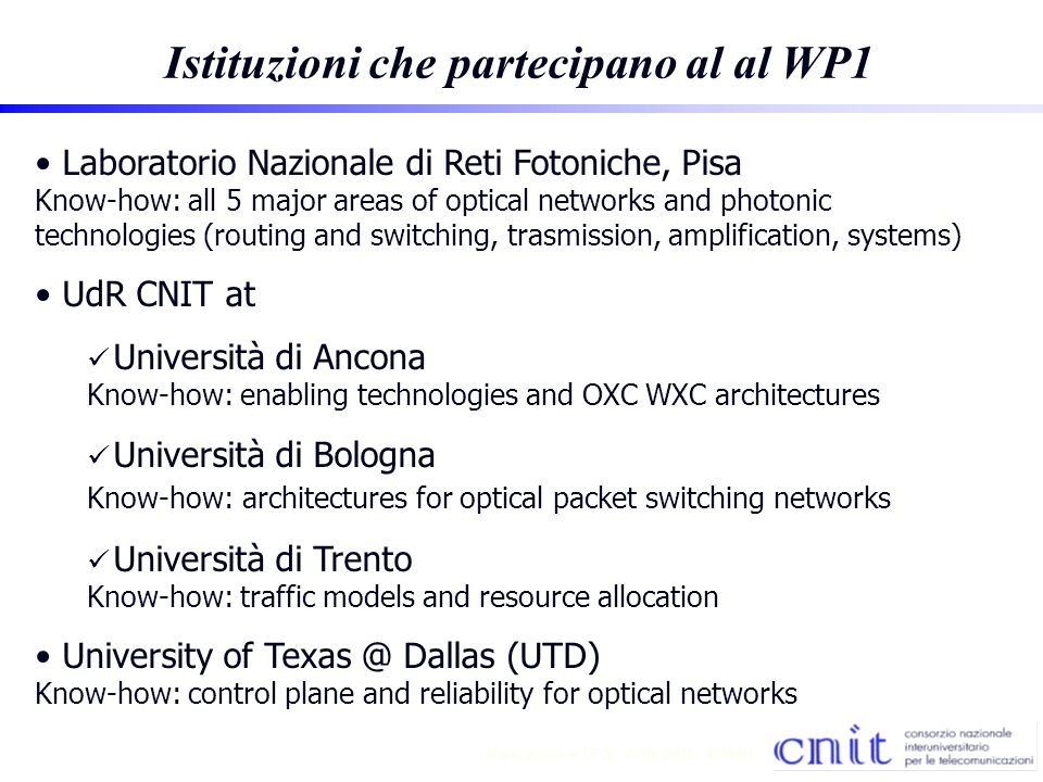 4 Mark Jones TF A - AON 2001 - 4/30/01 Sintesi amministrativa WP1 Responsabili di fondi di ricerca sul WP1 Piero Castoldi (Lab Naz.