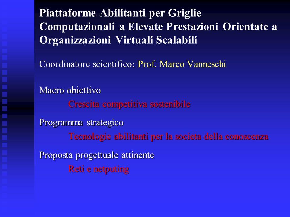 Piattaforme Abilitanti per Griglie Computazionali a Elevate Prestazioni Orientate a Organizzazioni Virtuali Scalabili Coordinatore scientifico: Prof.
