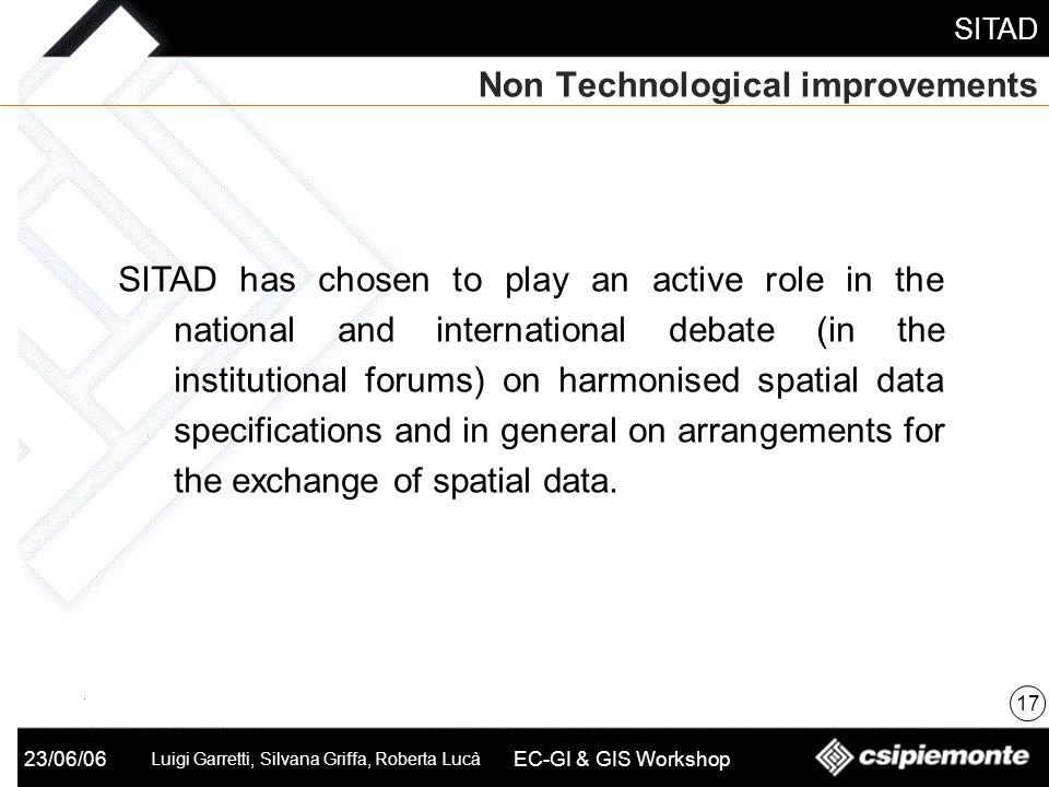 SITAD 23/06/06 Luigi Garretti, Silvana Griffa, Roberta Lucà EC-GI & GIS Workshop Non Technological improvements 17 SITAD has chosen to play an active