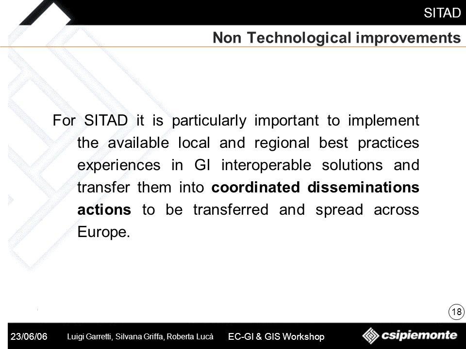 SITAD 23/06/06 Luigi Garretti, Silvana Griffa, Roberta Lucà EC-GI & GIS Workshop Non Technological improvements 18 For SITAD it is particularly import
