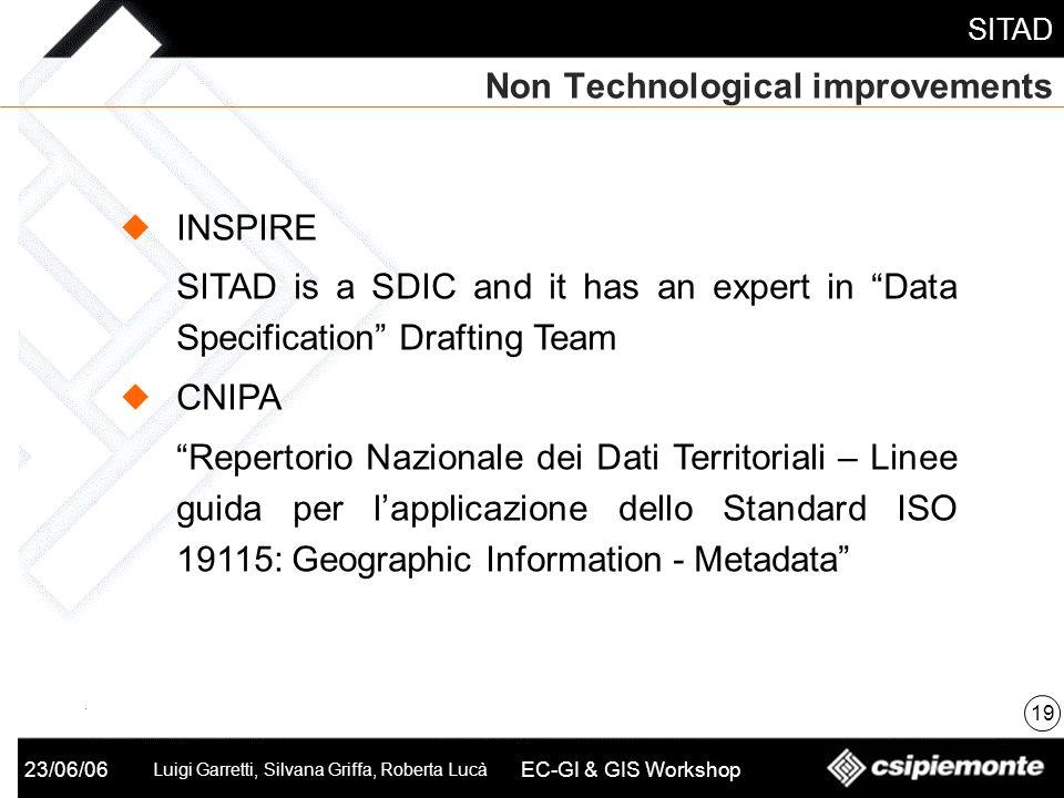 SITAD 23/06/06 Luigi Garretti, Silvana Griffa, Roberta Lucà EC-GI & GIS Workshop Non Technological improvements 19 INSPIRE SITAD is a SDIC and it has