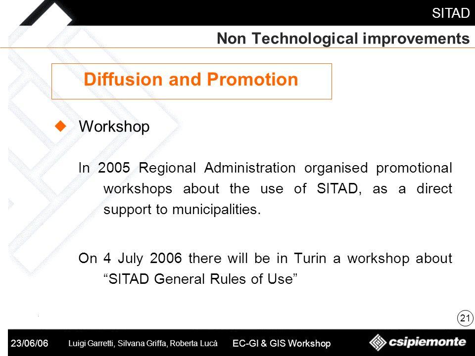 SITAD 23/06/06 Luigi Garretti, Silvana Griffa, Roberta Lucà EC-GI & GIS Workshop Non Technological improvements 21 Diffusion and Promotion Workshop In