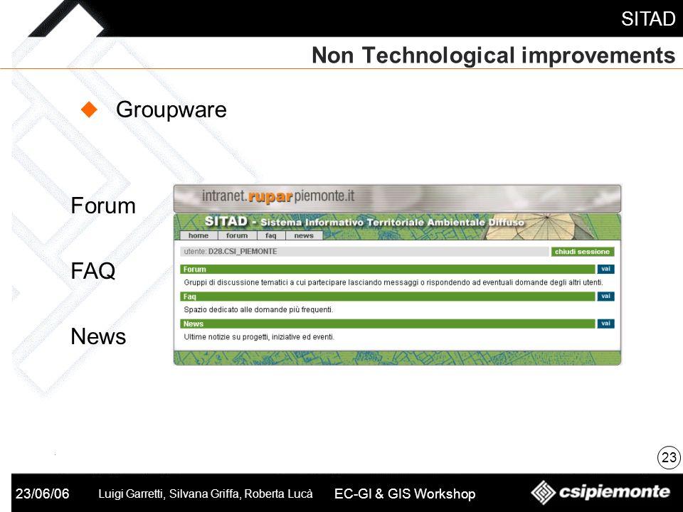 SITAD 23/06/06 Luigi Garretti, Silvana Griffa, Roberta Lucà EC-GI & GIS Workshop Non Technological improvements 23 Groupware Forum FAQ News