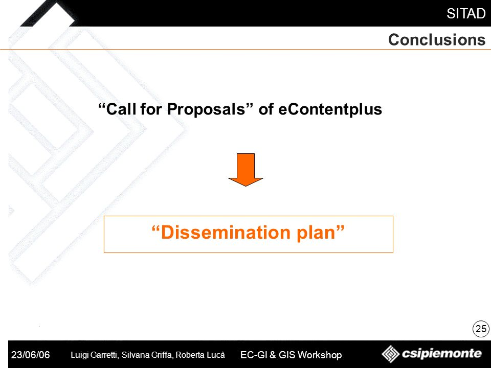 SITAD 23/06/06 Luigi Garretti, Silvana Griffa, Roberta Lucà EC-GI & GIS Workshop Conclusions 25 Call for Proposals of eContentplus Dissemination plan