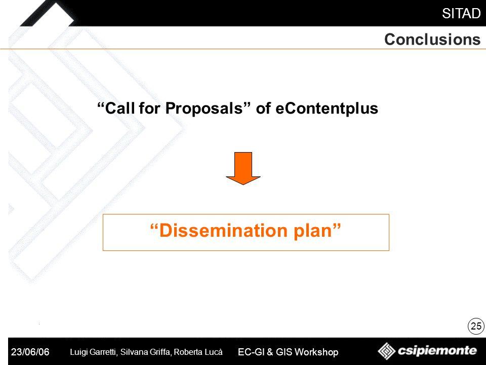 SITAD 23/06/06 Luigi Garretti, Silvana Griffa, Roberta Lucà EC-GI & GIS Workshop Conclusions 25 Call for Proposals of eContentplus Dissemination plan