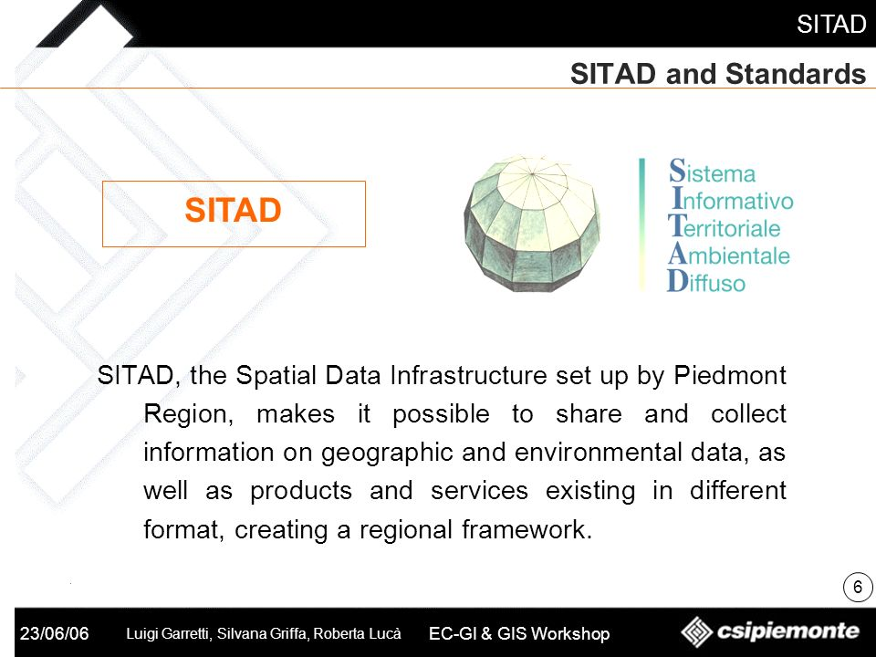23/06/06 Luigi Garretti, Silvana Griffa, Roberta Lucà EC-GI & GIS Workshop SITAD and Standards SITAD, the Spatial Data Infrastructure set up by Piedmo
