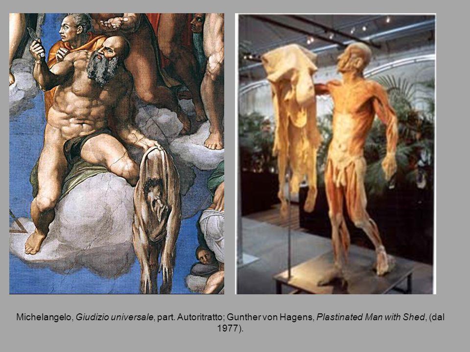 Michelangelo, Giudizio universale, part. Autoritratto; Gunther von Hagens, Plastinated Man with Shed, (dal 1977).