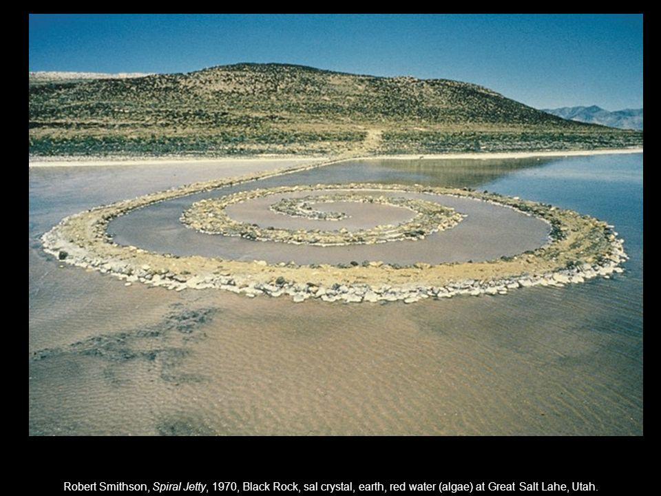 Robert Smithson, Spiral Jetty, 1970, Black Rock, sal crystal, earth, red water (algae) at Great Salt Lahe, Utah.