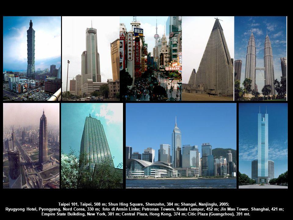 Taipei 101, Taipei, 508 m; Shun Hing Square, Shenzehn, 384 m; Shangai, Nanjinglu, 2005; Ryugyong Hotel, Pyongyang, Nord Corea, 330 m; foto di Armin Li