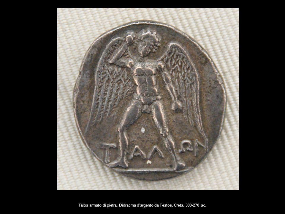 Talos armato di pietra. Didracma d'argento da Festos, Creta, 300-270 ac.