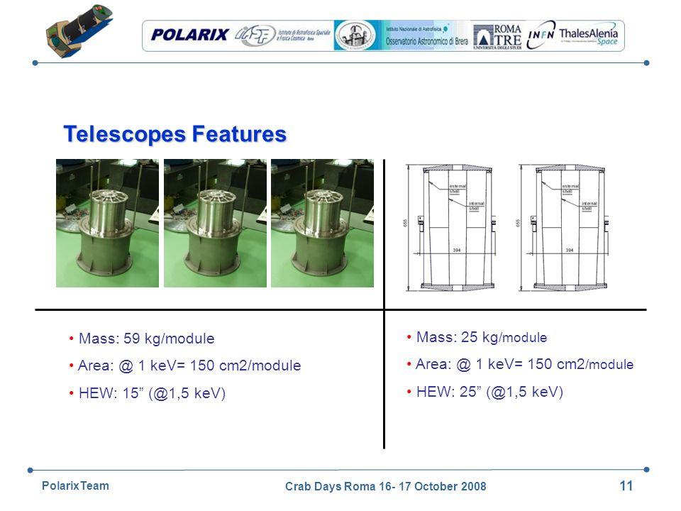 Crab Days Roma 16- 17 October 2008 11 PolarixTeam Mass: 59 kg/module Area: @ 1 keV= 150 cm2/module HEW: 15 (@1,5 keV) Telescopes Features Mass: 25 kg /module Area: @ 1 keV= 150 cm2 /module HEW: 25 (@1,5 keV)