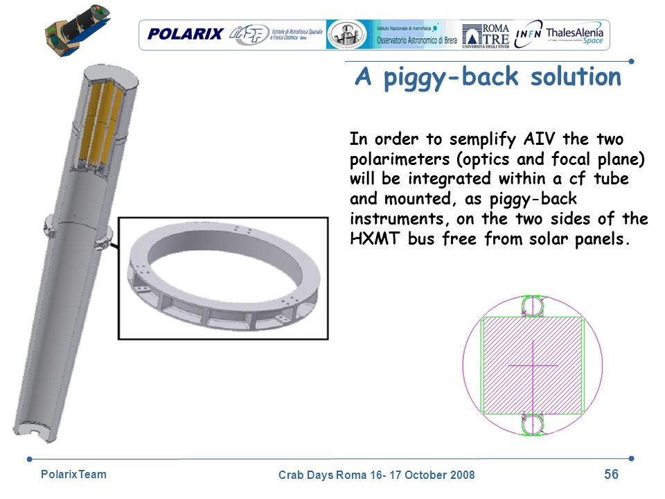 Crab Days Roma 16- 17 October 2008 56 PolarixTeam A piggy-back solution In order to semplify AIV the two polarimeters (optics and focal plane) will be integrated within a cf tube and mounted, as piggy-back instruments, on the two sides of the HXMT bus free from solar panels.