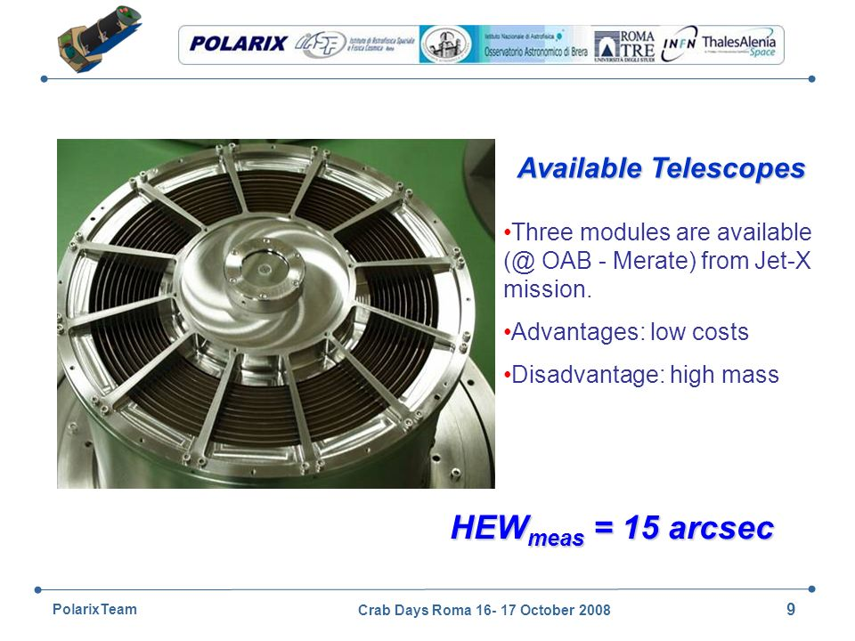 All rights reserved © 2007, Thales Alenia Space POLARIX