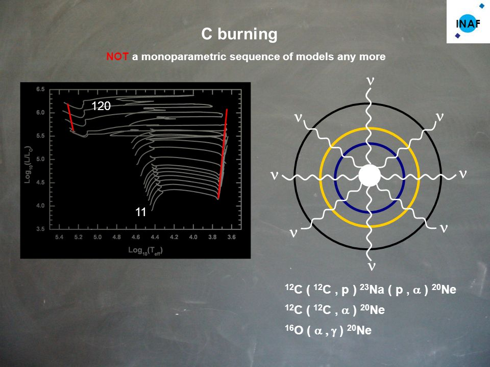 INAF C burning 11 120 NOT a monoparametric sequence of models any more 12 C ( 12 C, p ) 23 Na 12 C ( 12 C, ) 20 Ne ( p, ) 20 Ne 16 O ( ) 20 Ne