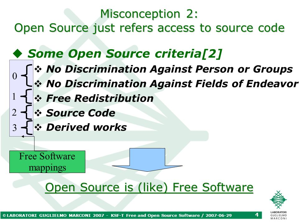 © LABORATORI GUGLIELMO MARCONI 2007 - KSF-T Free and Open Source Software / 2007-06-29 5 Free and Open Source Software overview Open Source Free Software License categories [3] Focus on social benefits Focus on business benefits