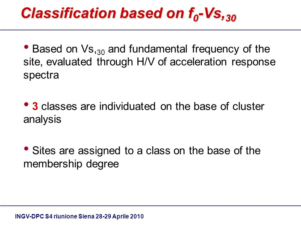 INGV-DPC S4 riunione Siena 28-29 Aprile 2010 Classification based on f 0 -Vs, 30 Based on Vs, 30 and fundamental frequency of the site, evaluated through H/V of acceleration response spectra 3 classes are individuated on the base of cluster analysis Sites are assigned to a class on the base of the membership degree