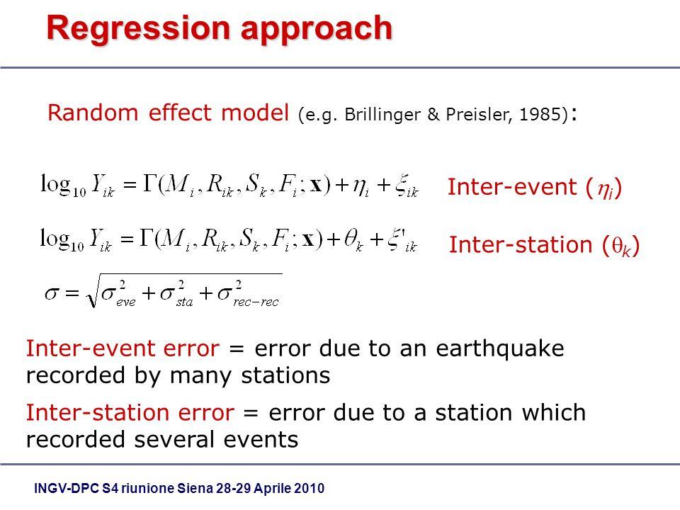 INGV-DPC S4 riunione Siena 28-29 Aprile 2010 Regression approach Random effect model (e.g. Brillinger & Preisler, 1985) : Inter-event ( i ) Inter-stat