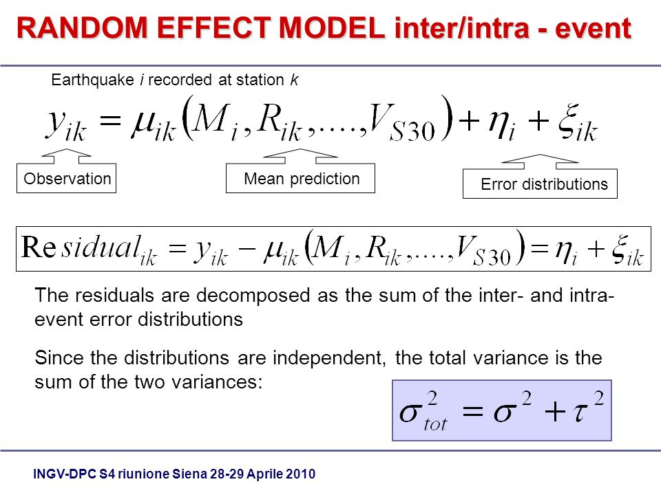 INGV-DPC S4 riunione Siena Aprile 2010 Mean prediction Earthquake i recorded at station k Error distributions Observation The residuals are decomposed as the sum of the inter- and intra- event error distributions Since the distributions are independent, the total variance is the sum of the two variances: RANDOM EFFECT MODEL inter/intra - event
