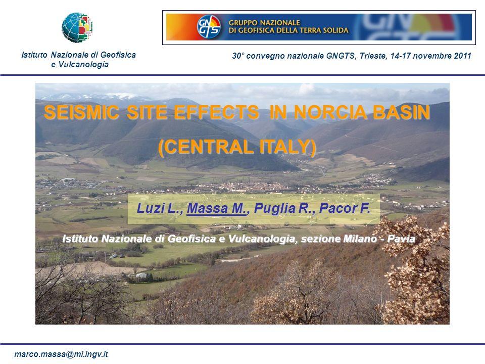 marco.massa@mi.ingv.it SEISMIC SITE EFFECTS IN NORCIA BASIN (CENTRAL ITALY) Istituto Nazionale di Geofisica e Vulcanologia, sezione Milano - Pavia Ist