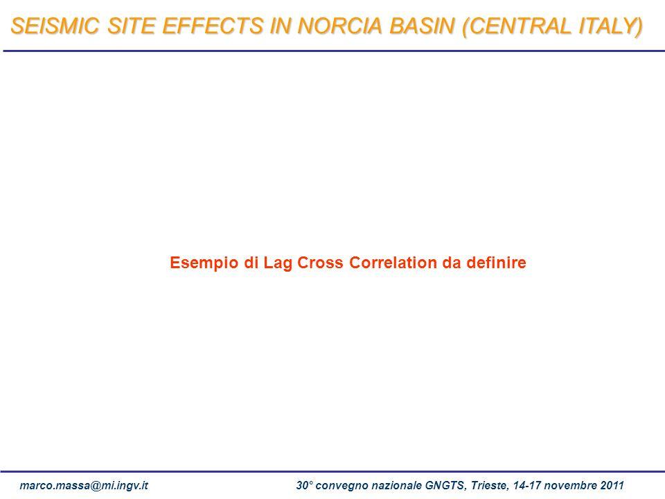 marco.massa@mi.ingv.it 30° convegno nazionale GNGTS, Trieste, 14-17 novembre 2011 Esempio di Lag Cross Correlation da definire SEISMIC SITE EFFECTS IN
