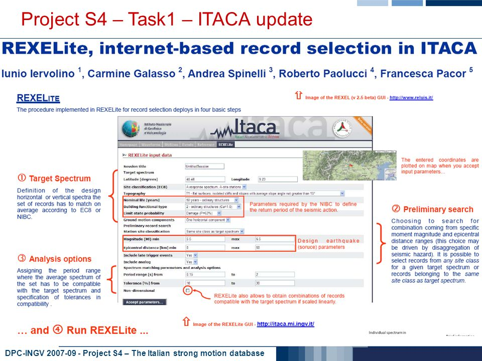 DPC-INGV 2007-09 - Project S4 – The Italian strong motion database Project S4 – Task1 – ITACA update