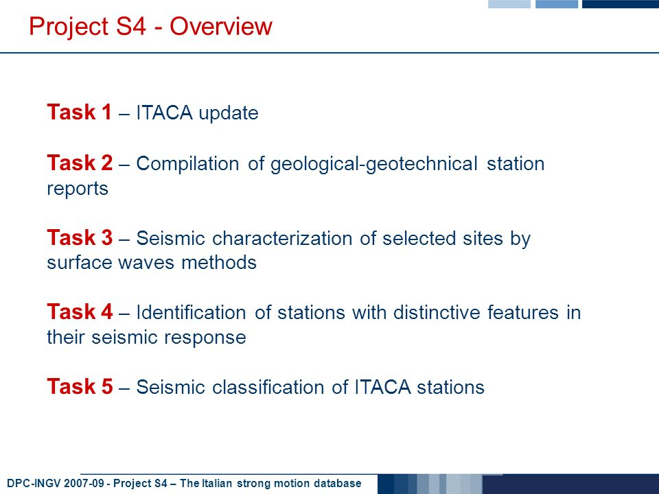 DPC-INGV 2007-09 - Project S4 – The Italian strong motion database Project S4 - Overview Task 1 – ITACA update Task 2 – Compilation of geological-geotechnical station reports Task 3 – Seismic characterization of selected sites by surface waves methods Task 4 – Identification of stations with distinctive features in their seismic response Task 5 – Seismic classification of ITACA stations