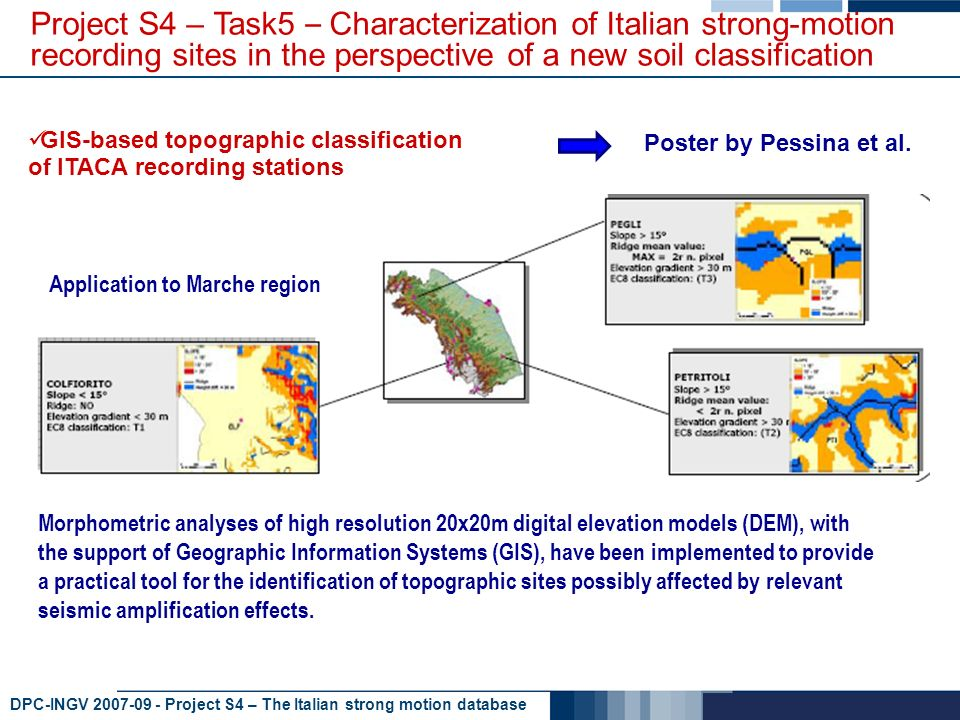 DPC-INGV 2007-09 - Project S4 – The Italian strong motion database GIS-based topographic classification of ITACA recording stations Poster by Pessina et al.