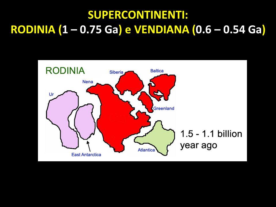 SUPERCONTINENTI: RODINIA (1 – 0.75 Ga) e VENDIANA (0.6 – 0.54 Ga)
