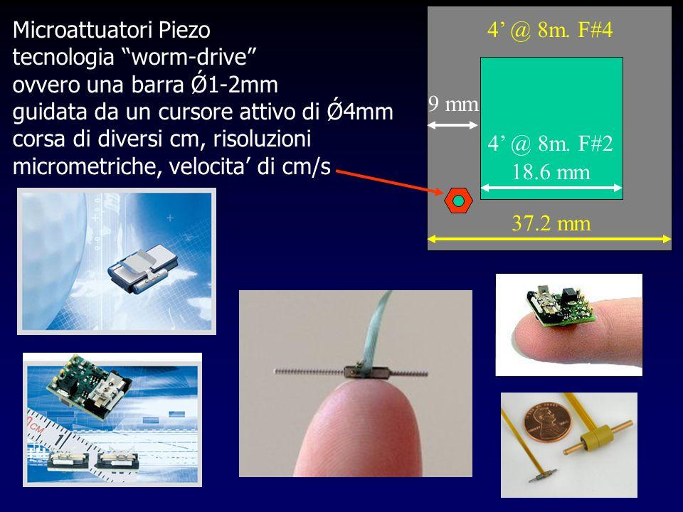 Microattuatori Piezo tecnologia worm-drive ovvero una barra Ǿ1-2mm guidata da un cursore attivo di Ǿ4mm corsa di diversi cm, risoluzioni micrometriche, velocita di cm/s 4 @ 8m.