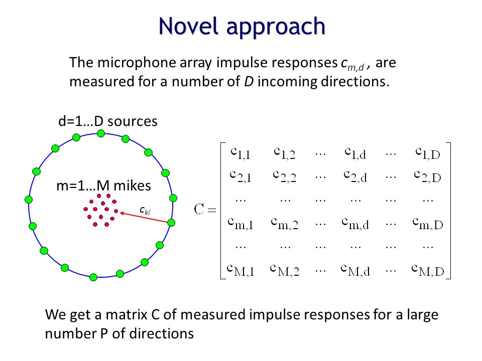 The microphone array impulse responses c m,d, are measured for a number of D incoming directions. We get a matrix C of measured impulse responses for