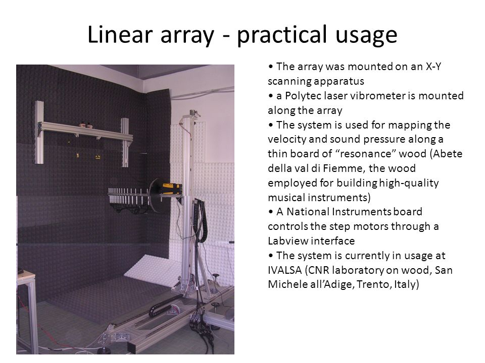 Linear array - practical usage The array was mounted on an X-Y scanning apparatus a Polytec laser vibrometer is mounted along the array The system is