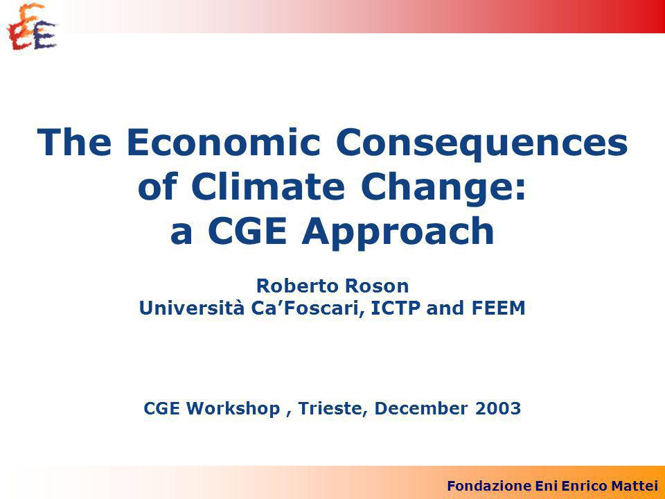 Fondazione Eni Enrico Mattei The Economic Consequences of Climate Change: a CGE Approach Roberto Roson Università CaFoscari, ICTP and FEEM CGE Workshop, Trieste, December 2003